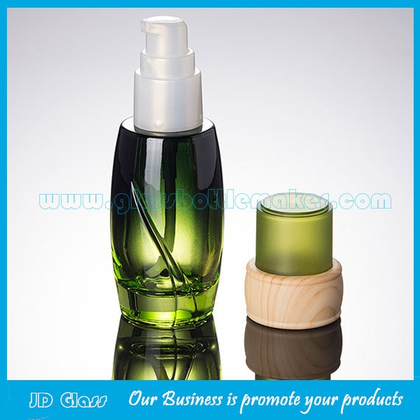 Hot Items 40ml,100ml,120ml High Quality Glass Lotion Bottles And 50g Glass Cosmetic Jar With Wood Cap For Skincare