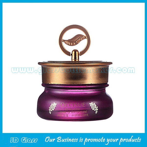 45g Purple Color Painting Glass Cosmetic Jar With Lid