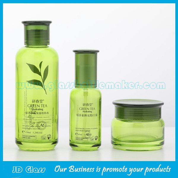New Item 120ml,100ml,40ml,50g Olive Green Glass Lotion Bottles And Cosmetic Jars For Skincare
