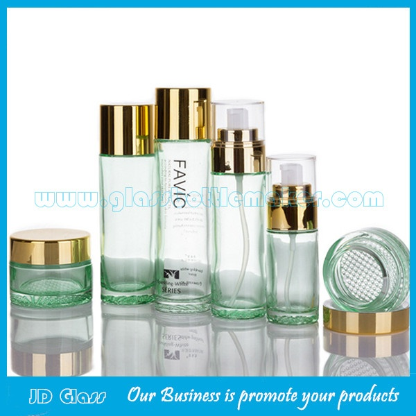 40ml,80ml,100ml,120ml Cylindrical Clear Lotion Glass Bottles and 30g,50g Glass Cosmetic Jars With Lids