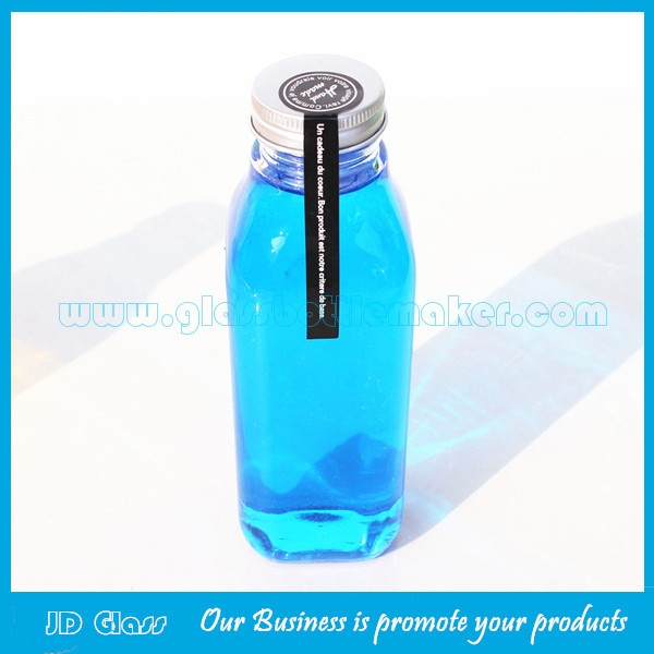 400ml Clear Square Glass Juice Bottles With Caps