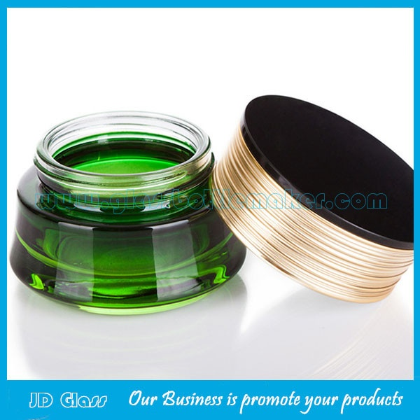 30g Green Color Glass Cosmetic Jar With Lid
