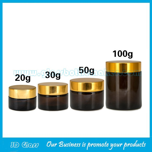 20g,30g,50g,100g Amber Round Glass Cosmetic Jars With Black Lids