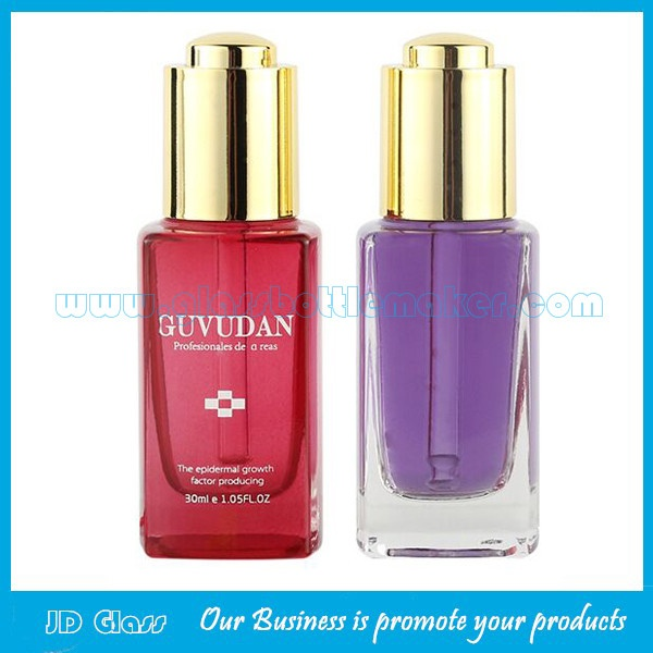 30ml Square Glass Serum Bottles With Press Droppers