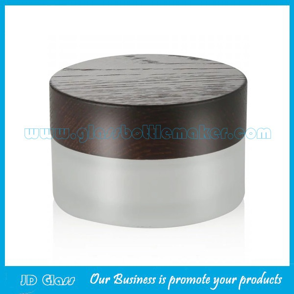 30g Frost Round Glass Cosmetic Jar With Wood Lid
