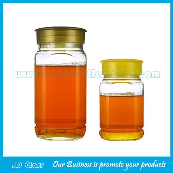 500g and 1000g Clear Square Glass Honey Jars With Lids