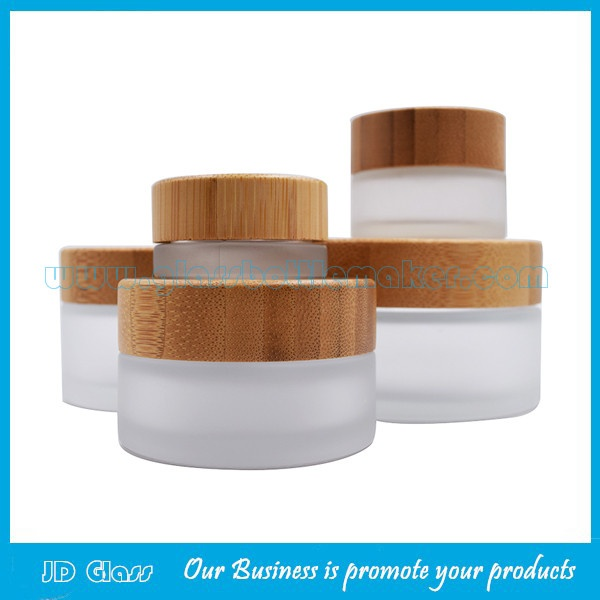 5g,15g,30g,50g,100g Frost Glass Cosmetic Jars With Bamboo Lids