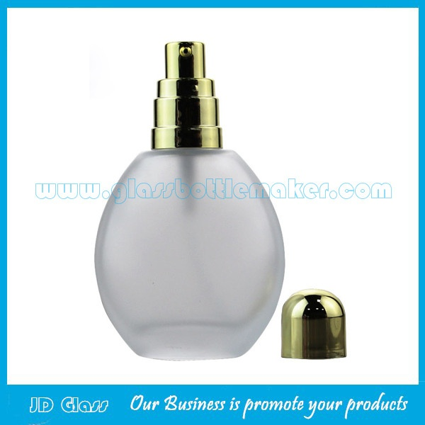 50ml Round Frost Glass Lotion Bottle With Gold Lotion Pump and Gold Cap
