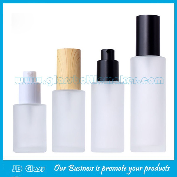 New Frost Cylinder Glass Lotion Bottles With Pumps and Wood Caps or Black Caps