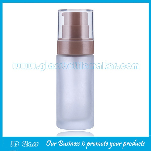 30ml Frost Round Glass Liquid Foundation Bottle With Cap and Pump