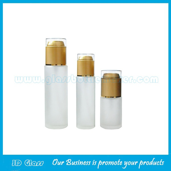 Cylindrical Frost Lotion Glass Bottle With Cap