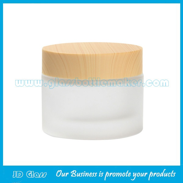 50g Frost Glass Cosmetic Jar With Wood Lid