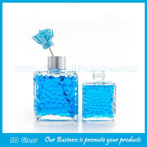 200ml Clear Empty Square Glass Fragrance Bottle With Silver Cap