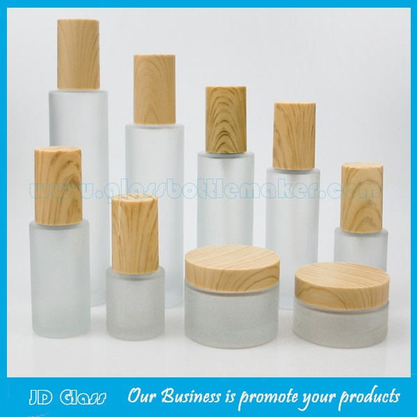 New Frost Cylinder Glass Lotion Bottles With Wood Cap & Glass Cosmetic Jars With Wood Cap