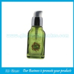 New Design 40ml Olive Green Square Glass Lotion Bottle With Pump