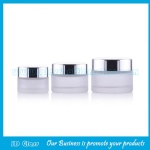 Frost Round Glass Cosmetic Jar With Silver Lid