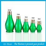 Green Single Calabash Essential Oil Glass Bottles With Gold Caps