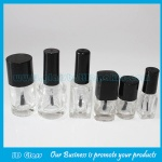 Clear Square and Round Glass Nail Polish Bottle With Cap and Brush