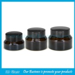 15g,30g,50g Amber Sloping Shoulder Glass Cosmetic Jars With Black Lids