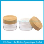 30g Clear Glass Cosmetic Jar With Bamboo Lid