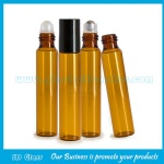 10ml Amber Round Perfume Roll On Bottle With Black Plastic Cap and Roller