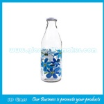 1000ml Clear Glass Milk Bottle With Cap