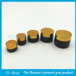 5g-50g Amber Round Glass Cosmetic Jars With Gold Lids