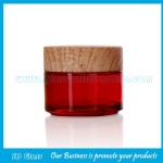 100g Red Round Glass Cosmetic Jar With Wood Lid