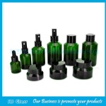 15ml-120ml Green Sloping Shoulder Glass Lotion Bottles and 15g-50g Green Glass Cosmetic Jar with Cap