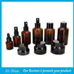 15ml-120ml Amber Sloping Shoulder Glass Lotion Bottles and 15g-50g Amber Glass Cosmetic Jar with Cap