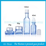 New Model Blue Color Painting 40ml,120ml Glass Lotion Bottles And 25g,50g Glass Cosmetic Jars For Skincare
