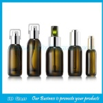 New Design 15ml,30ml,40ml,50ml Color Painting Glass Lotion Bottles With Silver Pumps