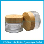 50g Clear Glass Cosmetic Jar With Bamboo Lid