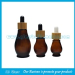Amber Single Calabash Essential Oil Glass Bottles With bamboo Droppers