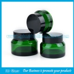 15g,30g,50g Green Sloping Shoulder Glass Cosmetic Jars With Black Lids
