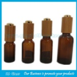 5ml-100ml Amber Round Essential Oil Glass Bottles With Bamboo Press Droppers