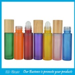 10ml Colored Round Perfume Roll On Bottle With Bamboo Cap and Roller