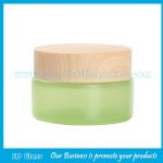 20g Green Painting Round Glass Cosmetic Jar With Wood Lid
