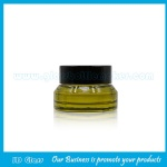 15g Olive Green Sloping Shoulder Glass Cosmetic Jar With Black Lid
