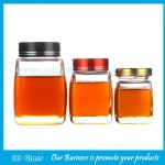 New Item Heavy Base Glass Honey Jars With Lids